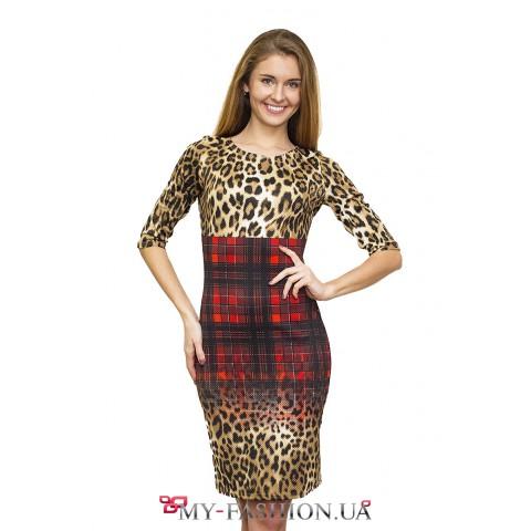 Яркое комбинированное платье-миди