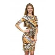 Яркое платье-футляр с оригинальным принтом