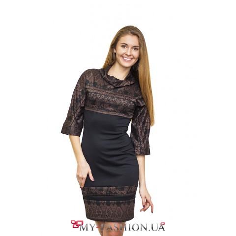 Классическое трикотажное платье с узорами
