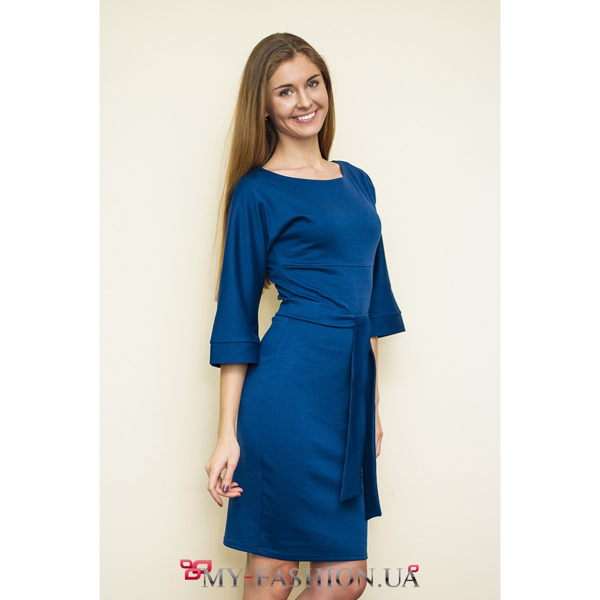 Платье синее с белым