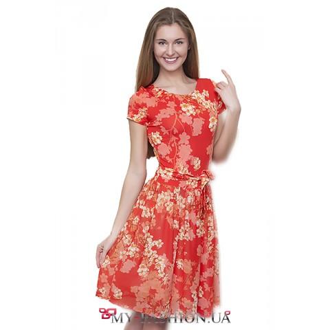 Классическое лёгкое платье с цветочным рисунком