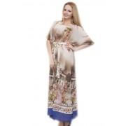Элегантное платье-макси с принтом греческих колонн