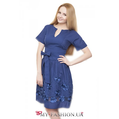 Стильное синее платье из натурального хлопка