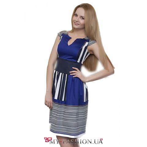 Комбинированное синее платье с полосками