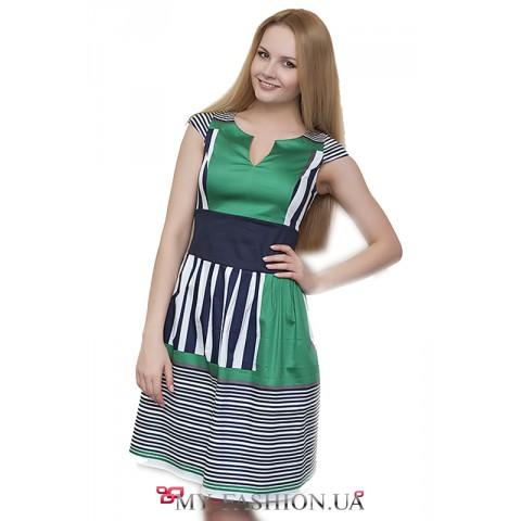 Комбинированное зелёное платье с полосками