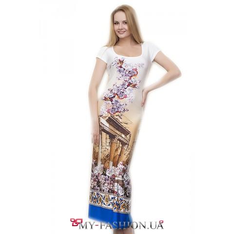 Платье максимальной длины облегающего силуэта