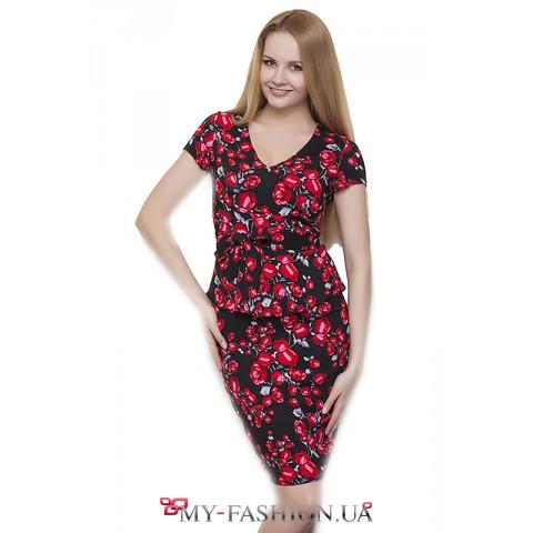 Летнее льняное платье с басочкой