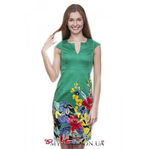 Зелёное хлопковое платье с крупным цветочным принтом