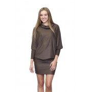 Коричневое платье-туника с широкими рукавами