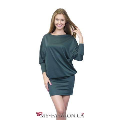 Платье-туника тёмно-зелёного цвета