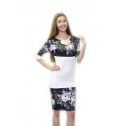 Белое платье-футляр с принтом-вышивкой