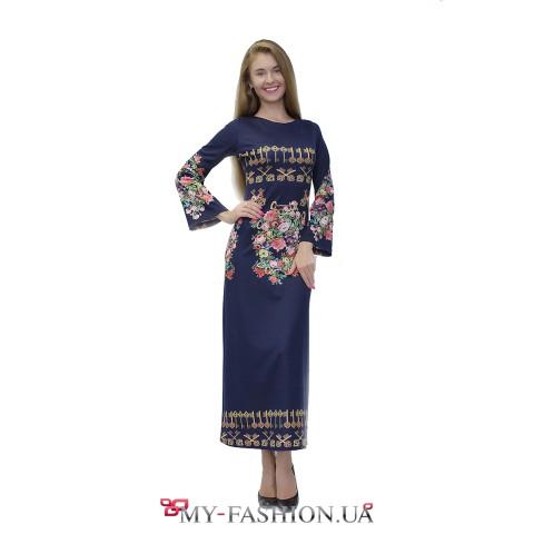 Трикотажное платье максимальной длины