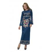 Голубое трикотажное длинное платье с цветами