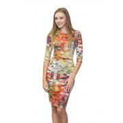 Многоцветное платье приталенного кроя