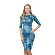 Сине-голубое платье для работы в офисе