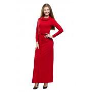 Тёплое красное платье в пол с воротником-хомутом