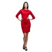 Красное платье-футляр с воротником-хомутом