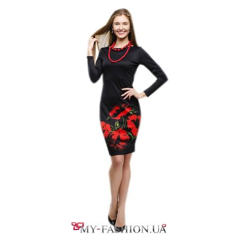 Облегающее платье чёрного цвета с красными маками