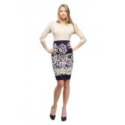 Комбинированное платье-футляр с розами