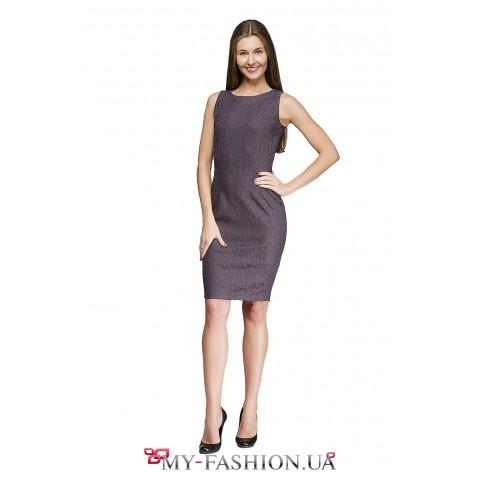 Платье-футляр тёмно-серого цвета