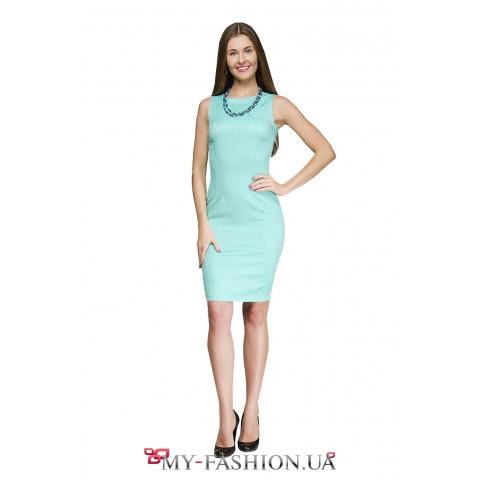 Приталенное платье бирюзового цвета