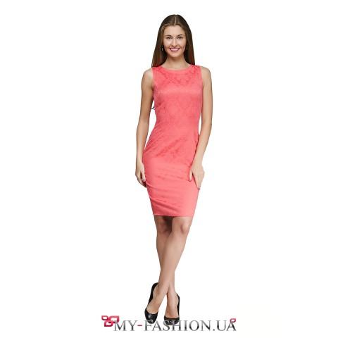 Платье кораллового цвета из хлопкового жаккарда
