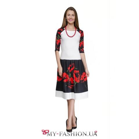 Платье в стиле этно из хлопкового трикотажа