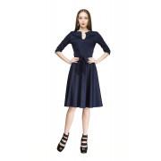 Платье для офиса тёмно-синего цвета с расклешённой юбкой