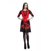 Красное платье в стиле этно из хлопкового трикотажа