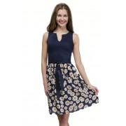 Комбинированное платье с расклешённой юбкой