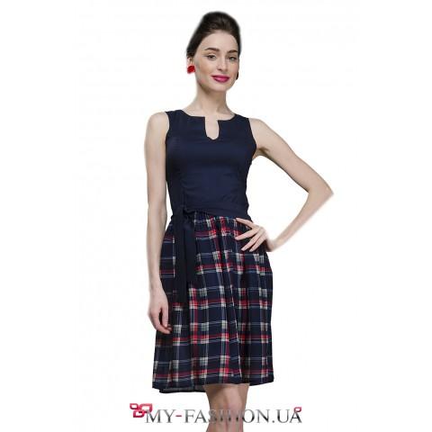 Комбинированное платье с юбкой в клеточку