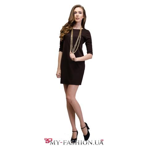 Тёмно-коричневое короткое платье