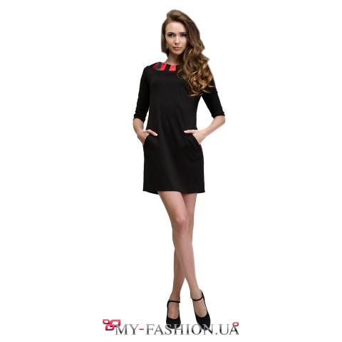 Короткое чёрное платье с орнаментом