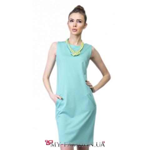 Офисное платье цвета мяты