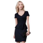 Трикотажное платье тёмно-синего цвета