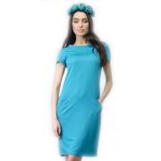 Приталенное платье яркого бирюзового цвета