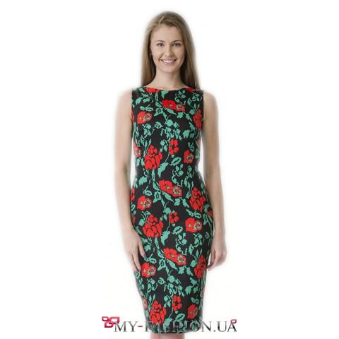 Платье-футляр из льна с цветочным принтом