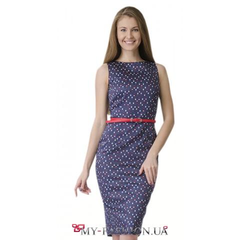 Платье-футляр из эластичного льна