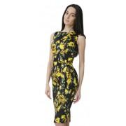 Платье-футляр контрастной расцветки с розами