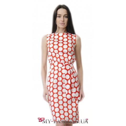 Хлопковое платье-футляр в крупный горошек