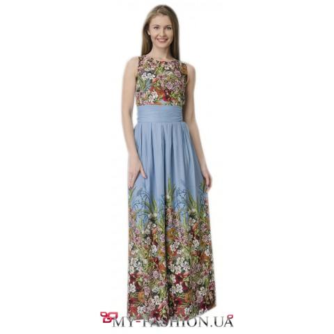 Длинное комбинированное платье из хлопка