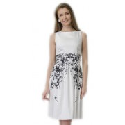 Белое офисное платье с чёрным узором