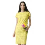 Праздничное платье жёлтого цвета из ажурной ткани