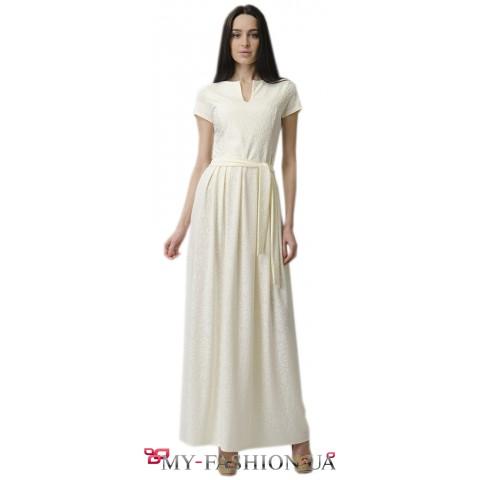 Длинное белое платье для торжественных событий