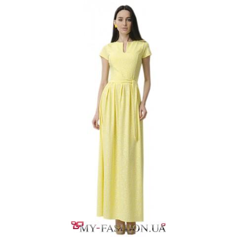 Длинное жёлтое платье для торжественных событий