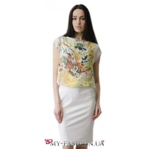 Лёгкое комбинированное летнее платье