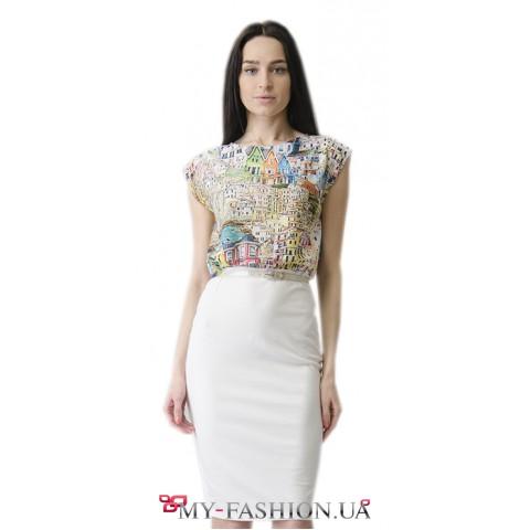 Лёгкое летнее комбинированное платье