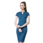 Платье-футляр синего цвета из жаккарда