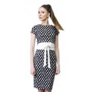Чёрно-белое платье со съёмным поясом