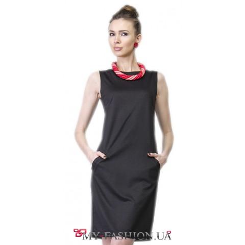 Платье офисного стиля с карманами